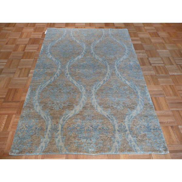 One-of-a-Kind Pellegrino Oushak Hand-Knotted Wool Soft Blue Area Rug by Bloomsbury Market