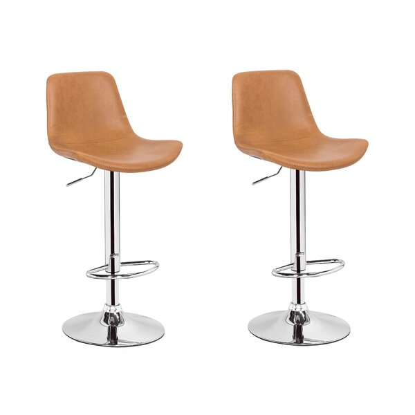 Gretna Adjustable Height Swivel Bar Stool (Set of 2) by Orren Ellis