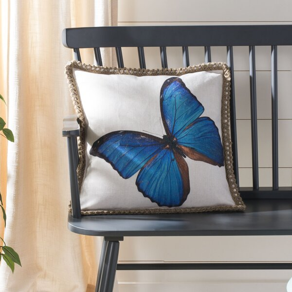 Horrocks Ellia Butterfly Throw Pillow by August Grove