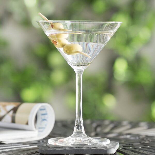 Aldrik Martini 8 oz. Crystal Cocktail Glass (Set of 4) by Trent Austin Design