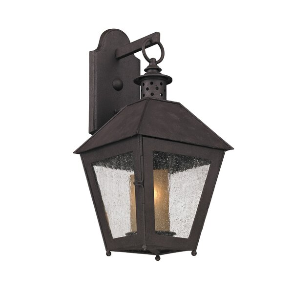 Dinerstein 1-Light Glass Shade Outdoor Wall Lantern by Longshore Tides