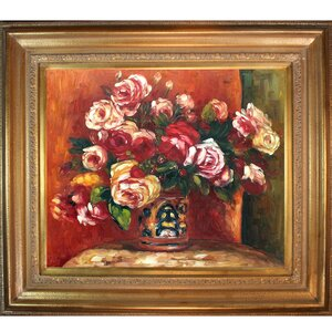 Roses in a Vase, 1914' by Pierre-Auguste Renoir Framed Painting on Canvas by Tori Home