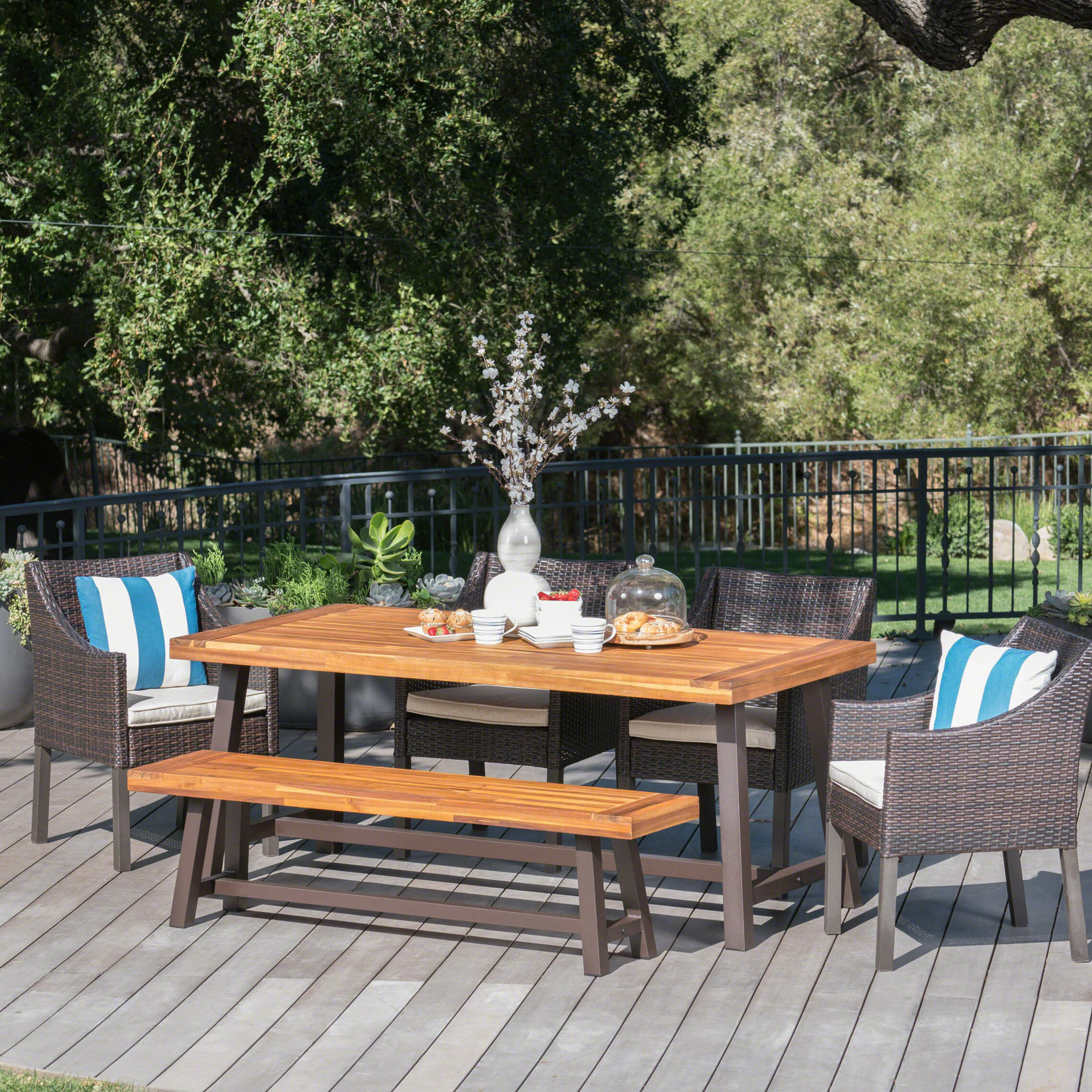 Belterra Wicker And Wood Outdoor 6 Piece Dining Set With Cushion U0026 Reviews    Birch Lane