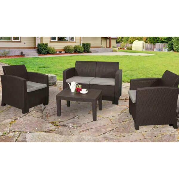 Edenfield Deluxe 4-Piece Rattan Sofa Seating Group With Cushions By Winston Porter