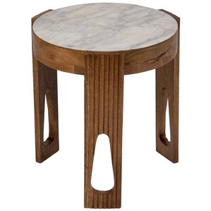 World Menagerie Briela Deco Marble and Wood End Table