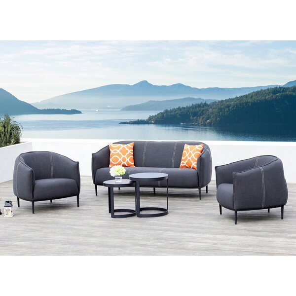 Milo 5 Piece Sunbrella Conversation Set with Cushions by Ove Decors