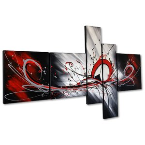 'Splash Abstract' 5 Piece Painting on Canvas Set by Zipcode Design