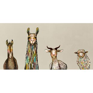 u0027Donkey Llama Goat Sheepu0027 Acrylic Painting Print on Canvas in Cream  sc 1 st  AllModern & Baby + Kidsu0027 Wall Art | AllModern