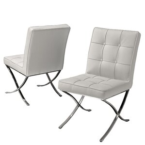 milania genuine leather upholstered dining chair set of 2