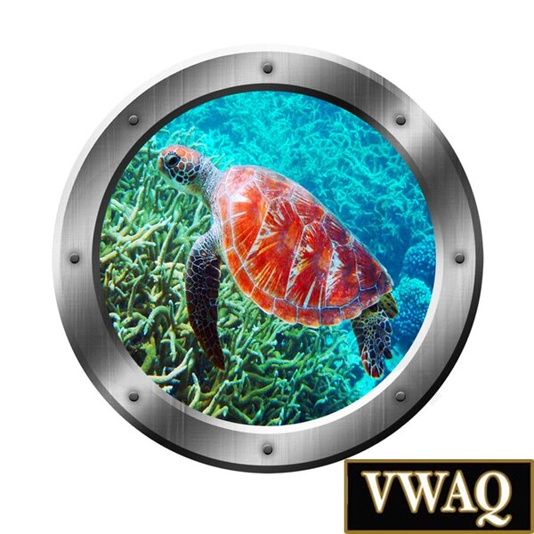 Underwater Scene Sea Turtle Porthole Window Peel and Stick Removable Wall Decal by VWAQ