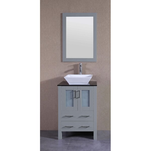 Amadis 24 Single Bathroom Vanity Set with Mirror by Bosconi