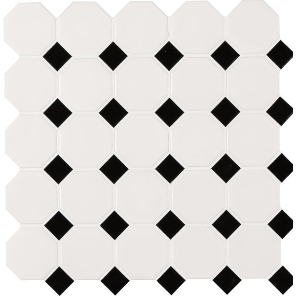 2 x 2 Porcelain Mosaic Tile in White/Black by MSI