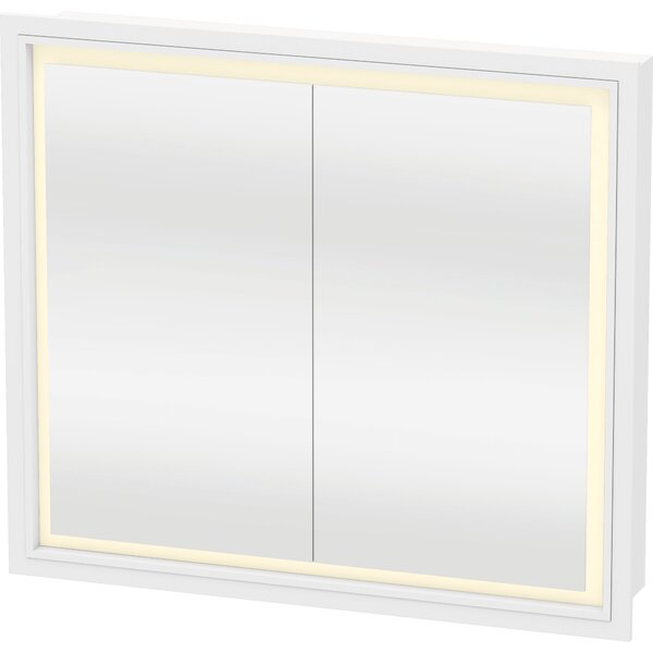 L-Cube Recessed Framed 2 Door Medicine Cabinet with LED Lighting