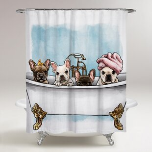 Oakledge Frenchies In The Tub Shower Curtain