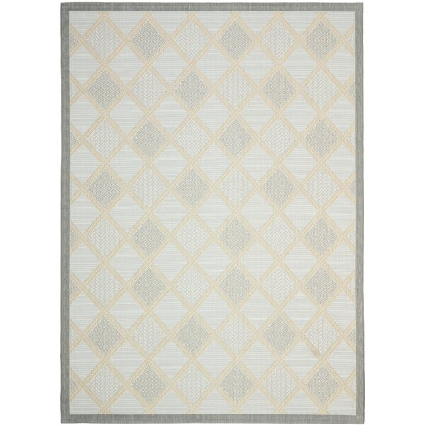 Short Light Grey / Anthracite Woven Indoor/Outdoor Rug by Winston Porter