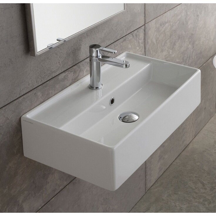 "Bathroom Sinks That Mount On The Wall scarabeonameeks teorema 16"" wall mounted bathroom sink with"