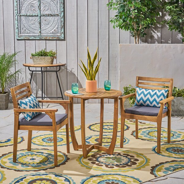 Estrela 3 Piece Bistro Set with Cushions by Bungalow Rose Bungalow Rose