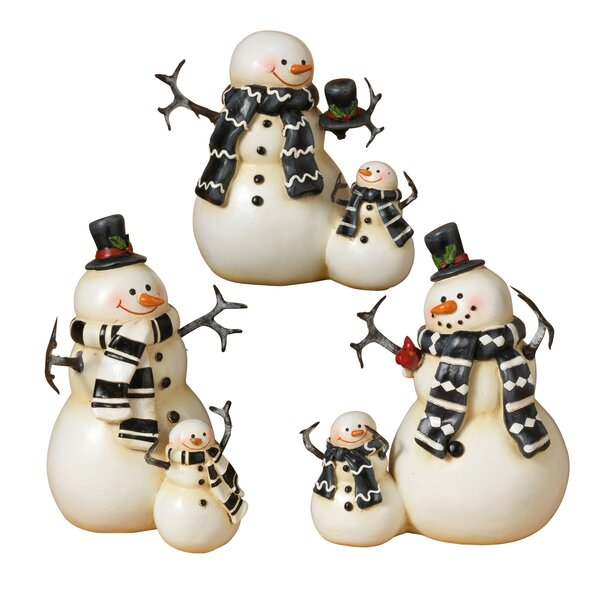 3 Piece Resin Snowmen Set by Gerson International
