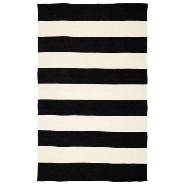 Mcfarland Stripes Handwoven Flatweave Black/Ivory Indoor/Outdoor Area Rug by Breakwater Bay
