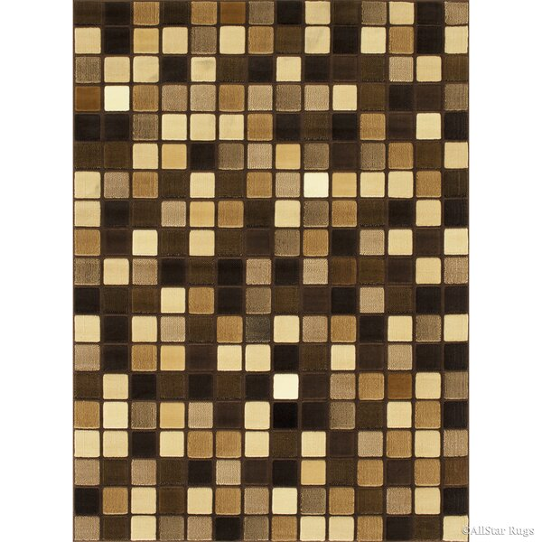 Bushong Modern and Contemporary Square Designed Brown Area Rug by Ebern Designs