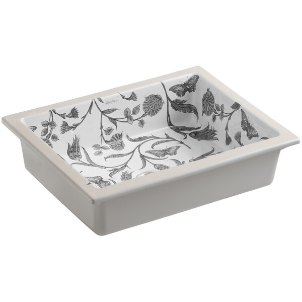 Botanical Study Ceramic Rectangular Undermount Bathroom Sink with Overflow by Kohler