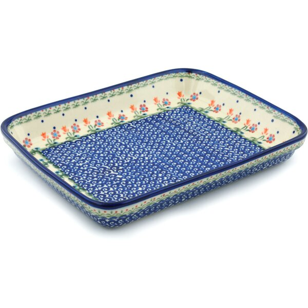 Spring Flowers Rectangular Non-Stick Polish Pottery Baker by Polmedia