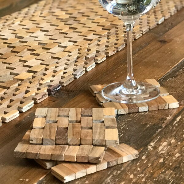 Recycled Teak Coaster Set (Set of 4) by Hip-O Modern Living