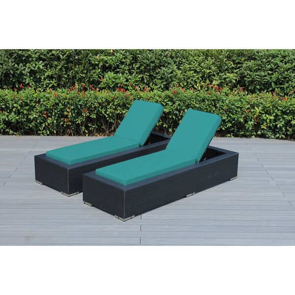 Baril Reclining Chaise Lounge with Cushion (Set of 2) by Wade Logan Wade Logan