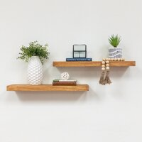 Deals on Gracie Oaks Evonne 2 Piece Solid Wood Pine Floating Shelf