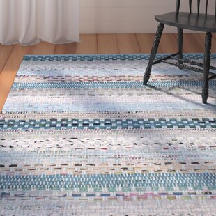 Reviews Vesey Hand-Knotted Cotton Aqua/White/Gray Area Rug ByAugust Grove