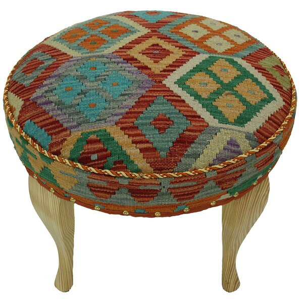 Stirling Kilim Upholstered Handmade Ottoman by Bloomsbury Market