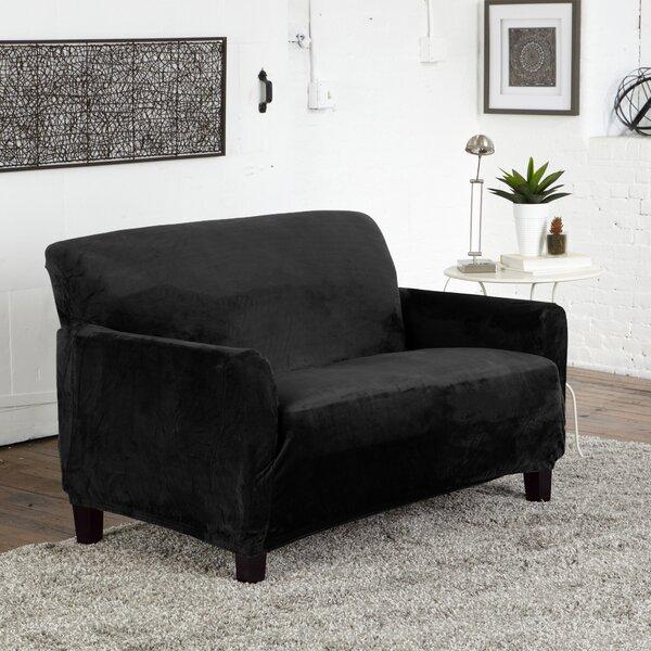 Velvet Plush Form Fit Box Cushion Loveseat Slipcover By Winston Porter
