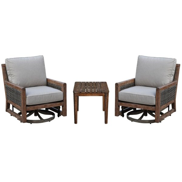 Bermuda Courtyard Casual Motion Balcony Teak Sunbrella Seating Group with Cushions
