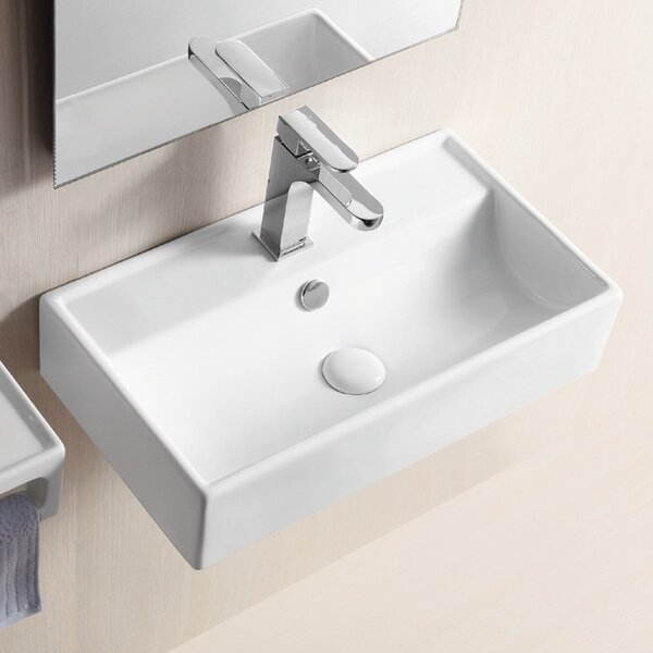 Ceramic 22 Wall Mount Bathroom Sink with Overflow by Caracalla