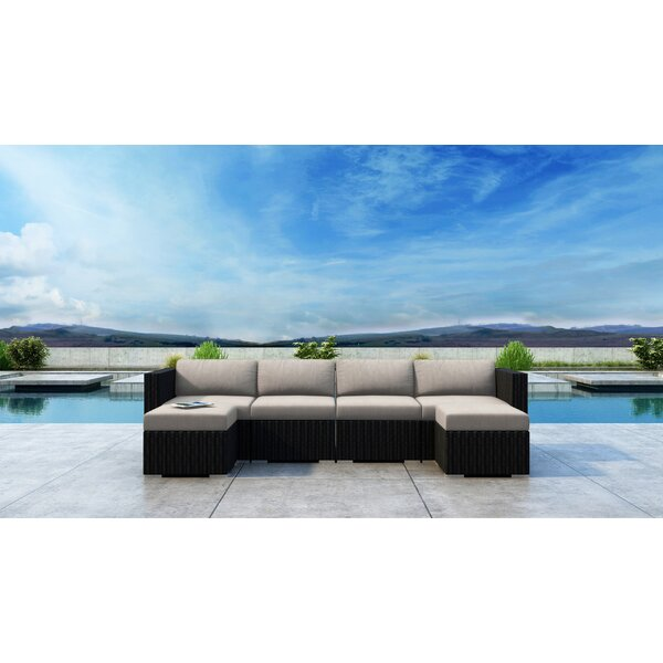 Glendale 6 Piece Rattan Sectional Seating Group with Sunbrella Cushions by Everly Quinn