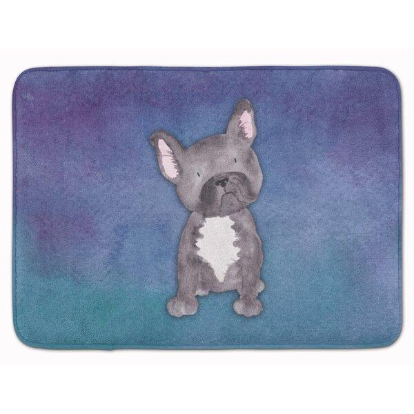 French Bulldog Watercolor Memory Foam Bath Rug