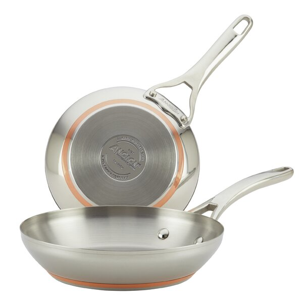 Nouvelle Copper Stainless Steel 2-Piece Copper-Core Skillet Set by Anolon