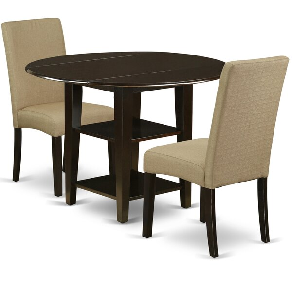 Albarran 3 Piece Drop Leaf Solid Wood Breakfast Nook Dining Set by Winston Porter Winston Porter