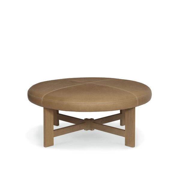 Mizpah 46'' Genuine Leather Round Cocktail Ottoman By Foundry Select