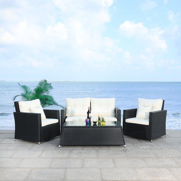 Lorma 4 Piece Rattan Sofa Seating Group with Cushions by Latitude Run