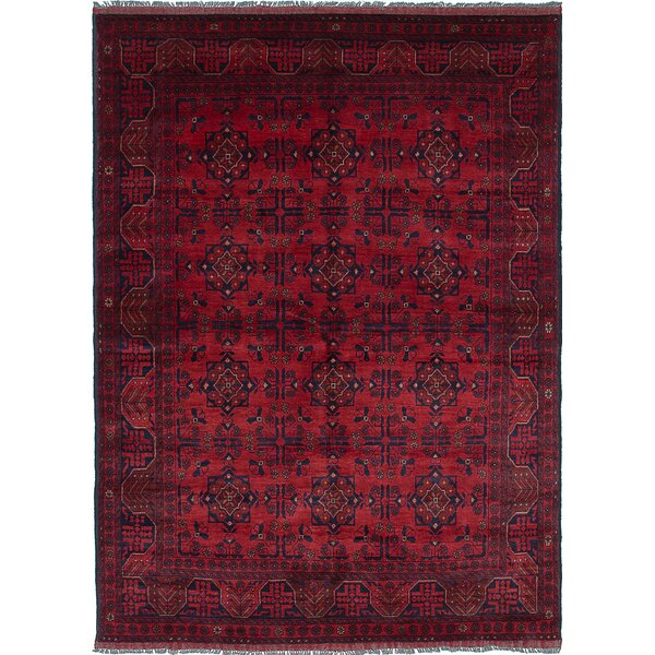One-of-a-Kind Rosales Hand-Knotted Rectangle Red/Black Area Rug by Bloomsbury Market