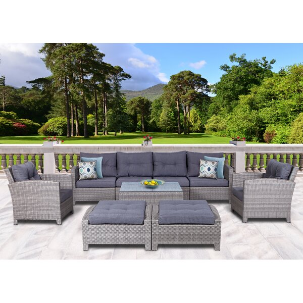 Cicero 9 Piece Rattan Sectional Seating Group with Cushions