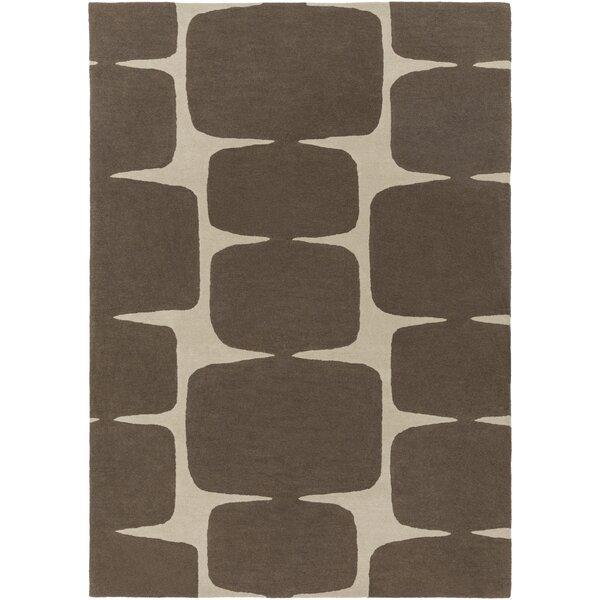 Baltwood Hand-Tufted Dark Brown/Khaki Area Rug by Langley Street