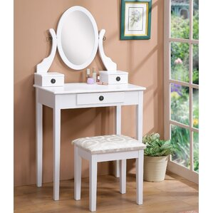 Moniya Wood Vanity Set with Mirror by Roundhill Furniture