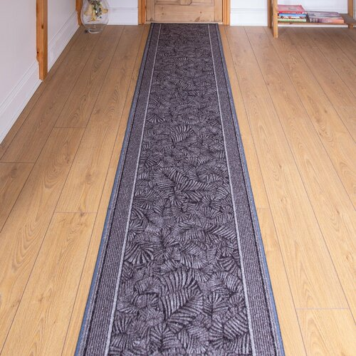 Almond Looped/Hooked Graphite Hallway Runner Rug Rosalind