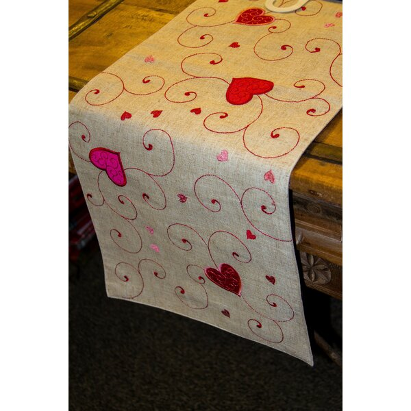 Doylestown Heart Swirls Table Runner by The Holiday Aisle
