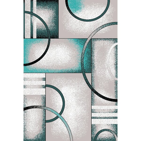 Mccampbell 3D Hand Carved Gray/Turquoise Area Rug by Ivy Bronx
