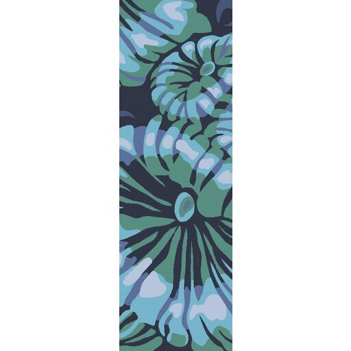 Maarten Hand-Hooked Indoor/Outdoor Teal/Navy Area Rug by Bay Isle Home