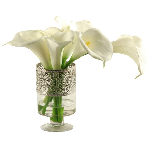 Calla Lilies in Glass Pedestal Vase by D & W Silks