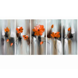 'Modern Flower' 5 Piece Painting Print on Wrapped Canvas Set by Zipcode Design